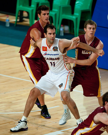Ian Crosswhite, Steven Broom, Dave Gurney - Cairns Taipans v SEQ All Stars - Finals Day, Sunshine State Challenge Pre-season NBL Basketball, Chandler, Brisbane, Queensland, Australia; Saturday 24 September 2011. Photos by Des Thureson:  http://disci.smugmug.com.
