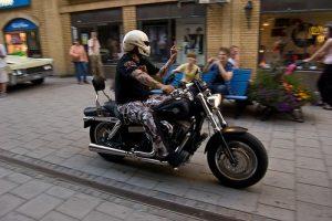 Motorcycle on the sidewalk