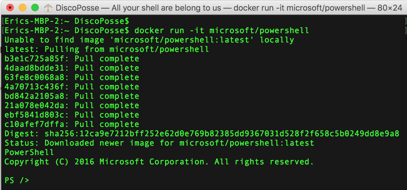Running PowerShell Core using Docker | DiscoPosse com