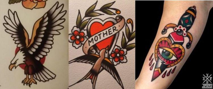 Tatuajes de estilo tradicional americano. (Pinterest)