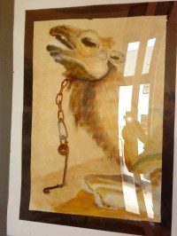 Chained camel - acrylic paint, watercolour paint and tea, on board - 2010. Exhibited in Caerphilly visitor centre art exhibition.
