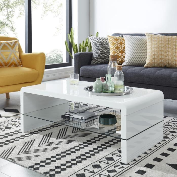 primis table basse contemporaine laquee blanc 110x60x41cm