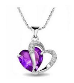 Crystal Heart Shape Pendant Ch...