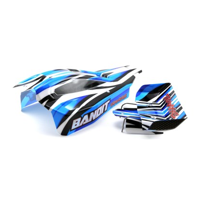 Traxxas Bandit XL-5 Blue/Black Body Shell with Rear Wing & Wire Mount