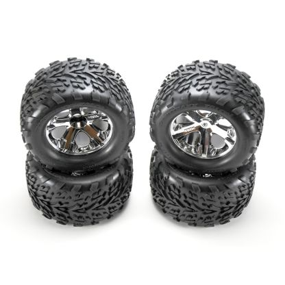 Traxxas Stampede 2WD XL-5 Factory Glued All-Star Black Chrome Wheels Talon Tires