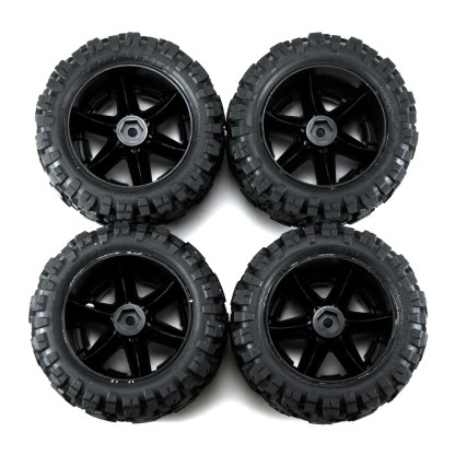 Traxxas Rustler 4X4 VXL Black Chrome Wheels & Tires Talon Extreme Glued 6773X