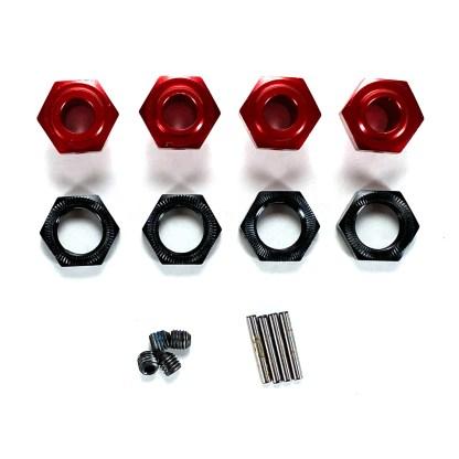 Arrma Typhon 6S BLX V5 17mm Black/Red Aluminum Metal Wheel Hex Set w/ Pins