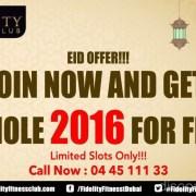 Fidelity Fitness Club 2016 Free Eid Offer Discount Sale UAE