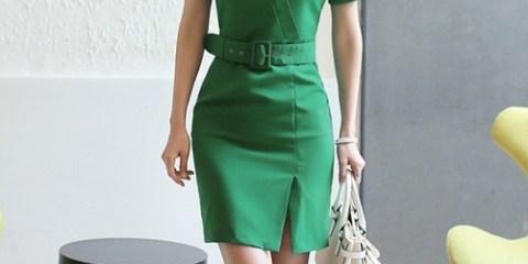 Green Belt Office Dress
