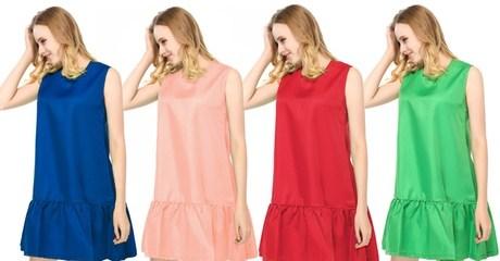 Drop-Waist Ruffle-Hem Dress