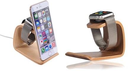 Wooden Watch and Phone Stand