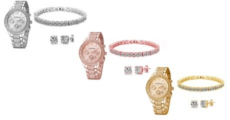 Crystal Watch and Jewellery Set