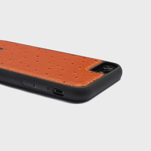 Gold Black iPhone 8 Leather Case Ostrich Orange Price in Qatar
