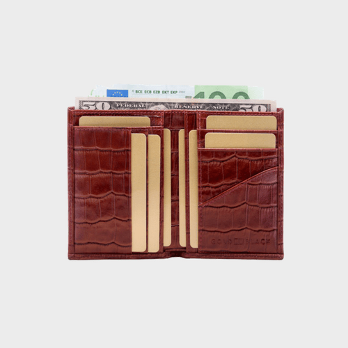 Goldblack Bifold Slim Wallet Croco Brown price in Qatar souq
