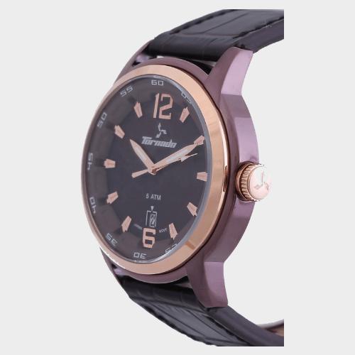 Tornado Men's Analog Watch Brown Dial Leather Band T5025-DLBDK price in Qatar lulu