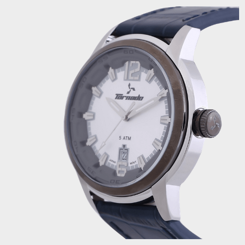 Tornado Men's Analog Watch Silver Dial Leather Band T5025-SLJS price in Qatar souq