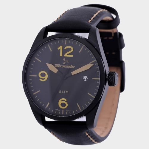 Tornado Men's Analog Watch Black Dial Leather Band T5026-BLBBY price in Qatar