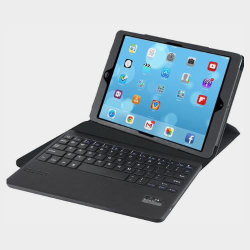 Promate Gyre 360 Degree Rotatable Protective Leather Case with Detachable Bluetooth Keyboard for iPad Air English Black Price in Qatar ourshopee