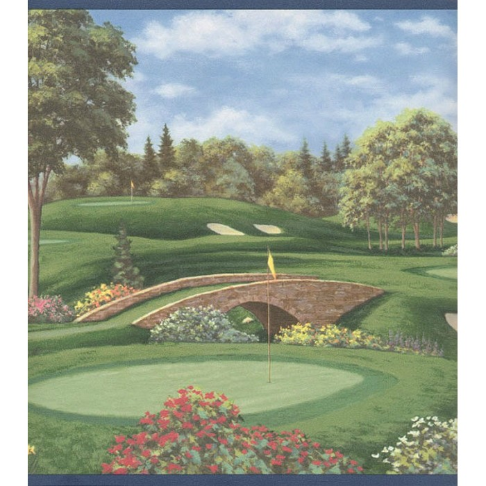 Ag042122b Golf Course Border Discount Wallcovering