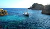 Sailing boat in Cala S'Almunia. Mallorca, Spain
