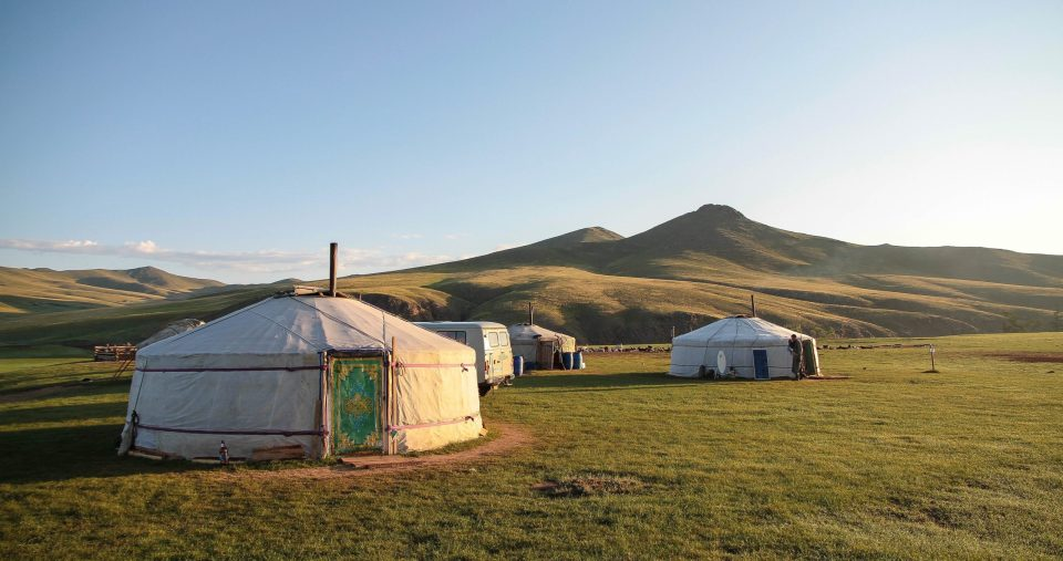 Mongolian gers in a field