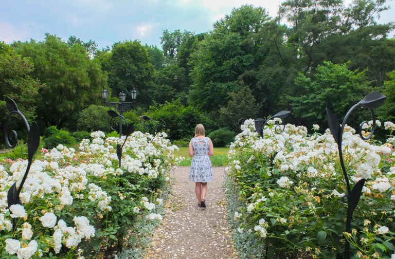 Alice, the author, walks in the centre of a path surrounding by flowers. She is using her phone as a guide.
