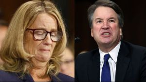 Split screen, Dr. Christine Blassy Ford and Brett Kavanaugh expressing emotion at hearings