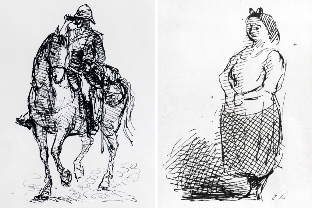 Ardizzone-Man-On-Horse-and-Standing-Woman-Sketches