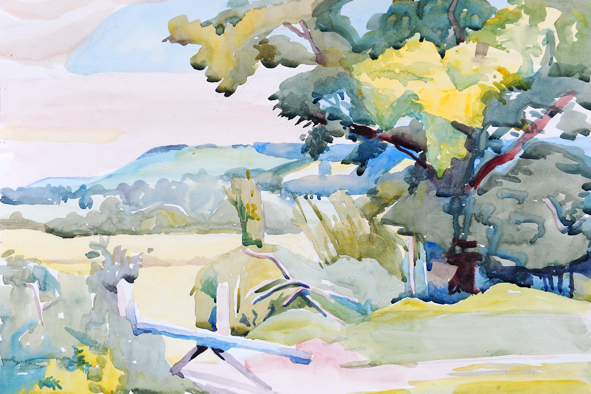 Claude-Flight-Edith-Lawrence-Watercolours-View-Across-The-Valley