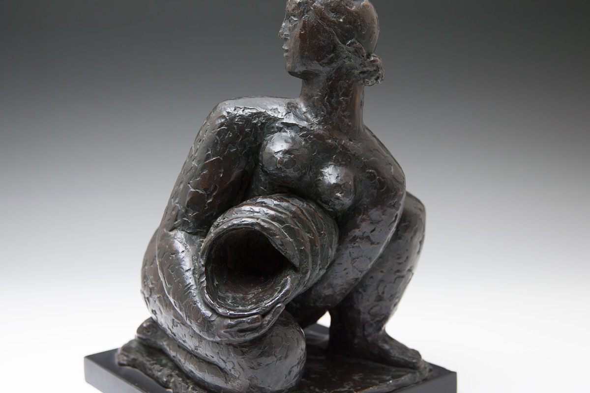Frank-Dobson-By-Andrew-Lambirth-Squatting-Female-Figure-With-Pitcher-Bronze
