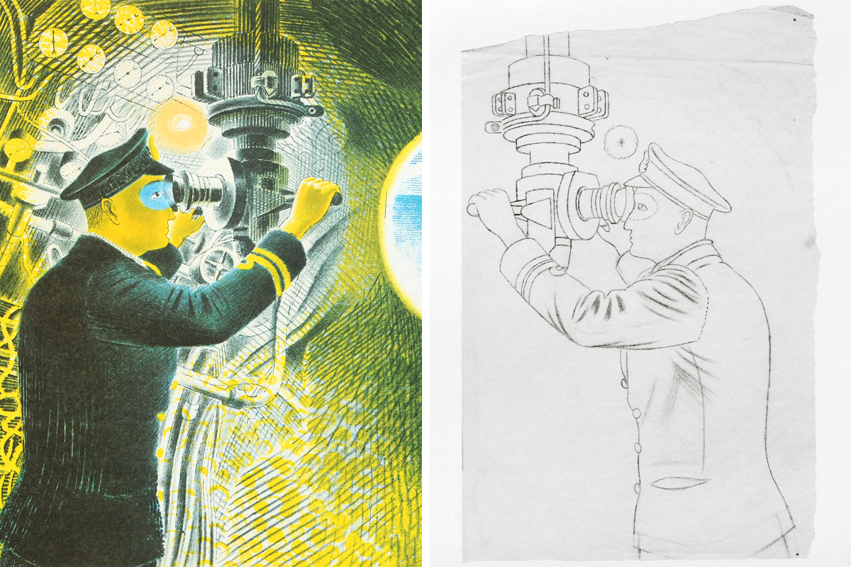 Eric-Ravilious-Commander-Looking-Through-Periscope-Tracing-Submarine-Dream