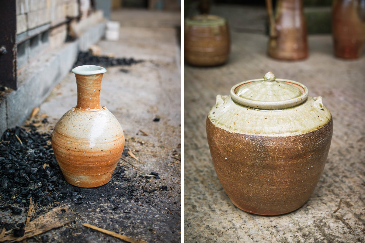 Phil-Rogers-Firing-Wood-Kiln-Bottle-and-Lidded-Jar