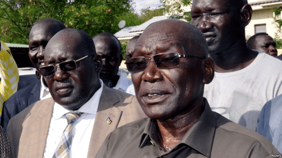 Gen. Malong address the pressing after his sack. Photo Credit/VOA