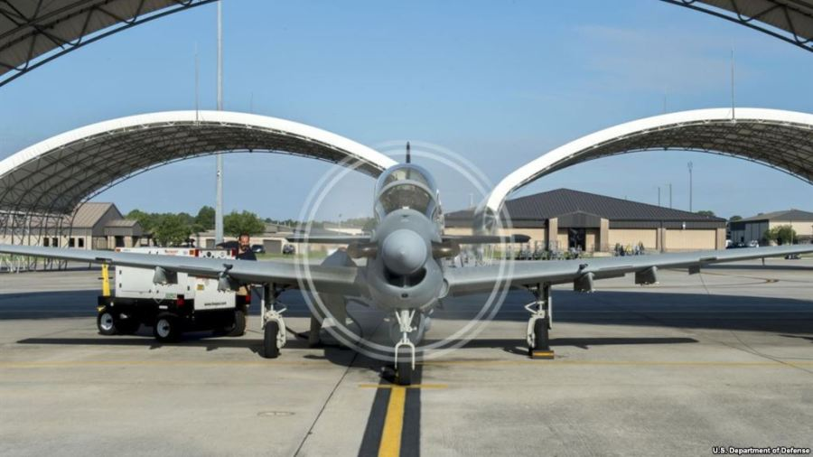 An A-29 Super Tucano plane prepares for takeoff at Moody Air Force Base, Georgia, June 23, 2016. (Source - U.S. Department of Defense) Credit/VoA