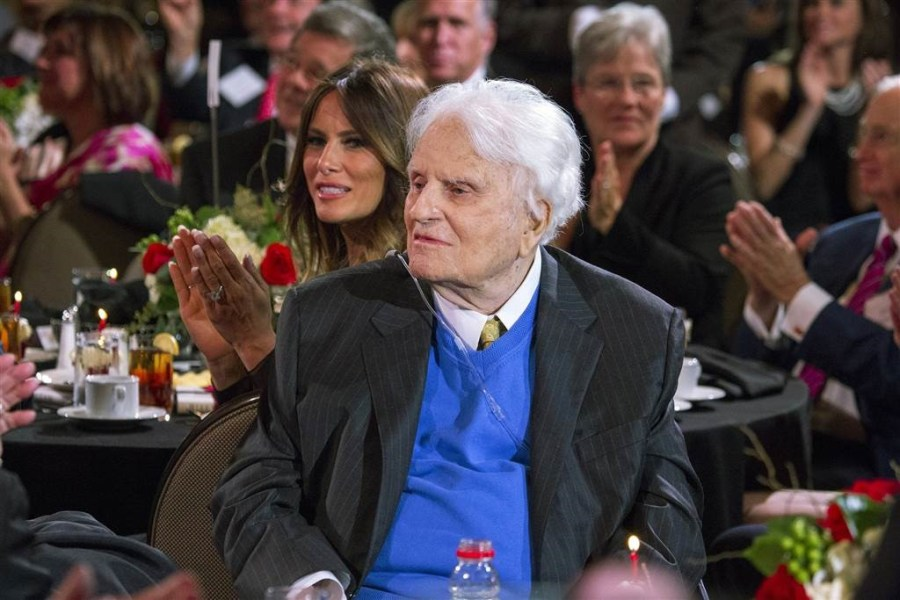 Billy Graham is pictured during a celebration for his 95th birthday in Asheville, North Carolina, in this November 7, 2013 handout photo. Source/Reuters