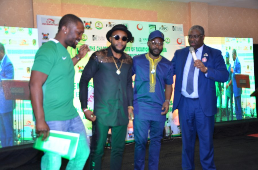 Tunde Fowler is collaborating with Nigeria's entertainment sector for tax education and tax campaigns. In the Photo: L-R: Musicians Dare Art Alade, KCee, Falz and the FIRS Executive Chairman. DAN File Photo, January 2018