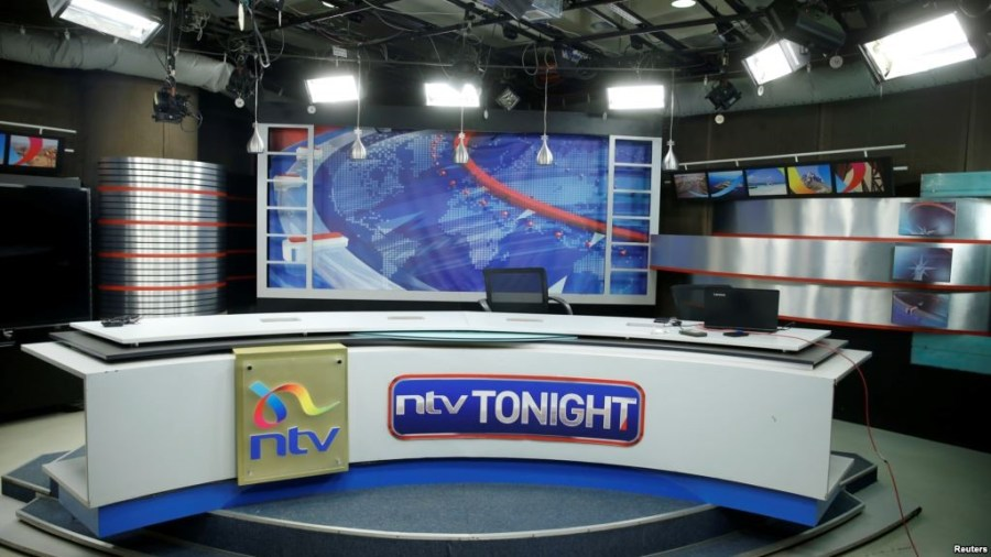 An empty studio of a Kenyan TV channel is seen following its coverage of opposition leader Raila Odinga's mock presidential inauguration this week, at the Nation Group media building in Nairobi, Kenya, Feb. 1, 2018. Credit/VoA