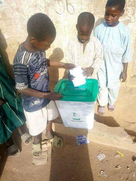 One of the pictures of underage voters circulating on the social media