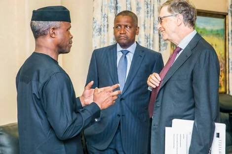 Nigeria's Vice President, Yemi Osinbajo, Bill Gates and Aliko Dangote during Gates visit to Nigeria