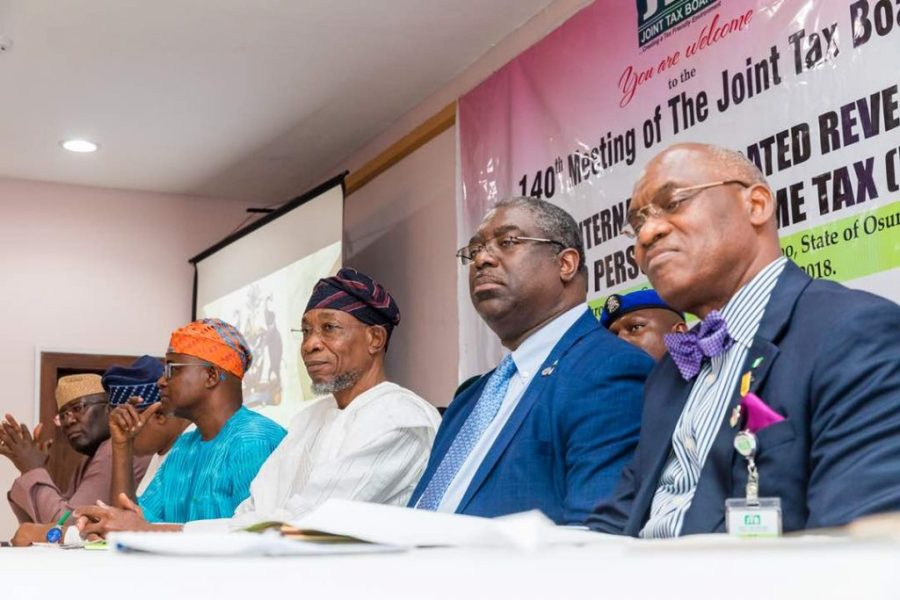 From Right: Secretary JTB, Oseni Elemmah, FIRS Executive Chairman, Tunde Fowler, Governor of Osun State, Rauf Aregbesola and other participants at the JTB meeting recently in Osun State