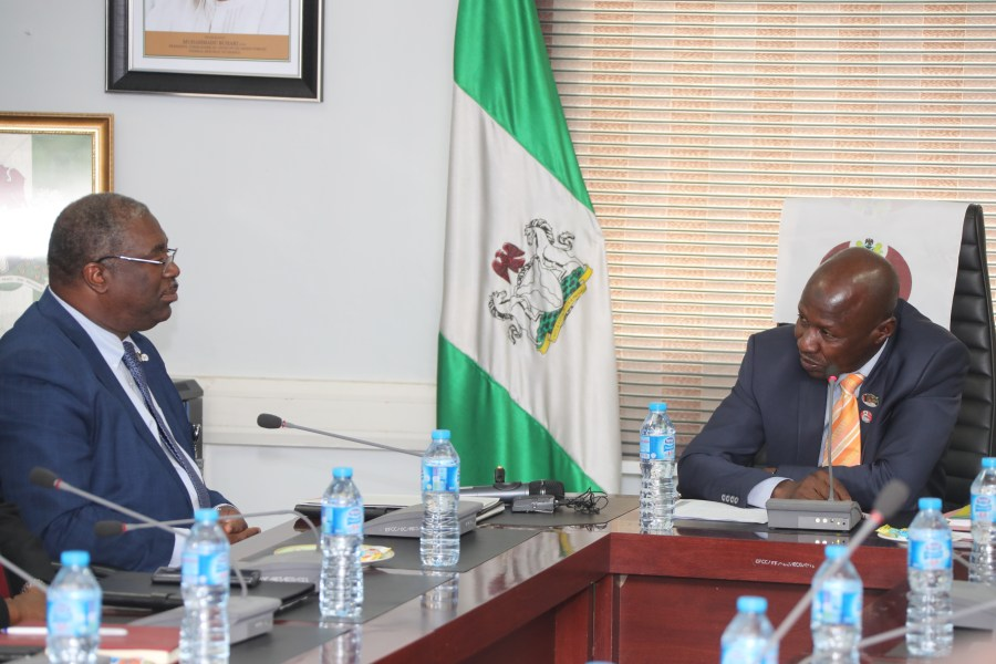 L-R Executive Chairman, Federal Inland Revenue Service (FIRS) Tunde Fowler and Acting Chairman, Economic and Financial Crimes Commission, Ibrahim Magu during FIRS courtesy visit to EFCC headquarters on Tuesday, April 10, 2018
