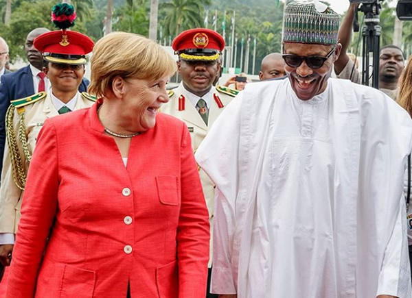 German Chancellor, Angela Merkel, at the Presidential Villa, Abuja.