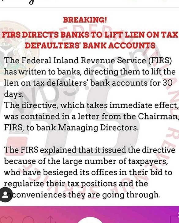 FIRS Lifts Lien on tax defaulters' Bank Accounts