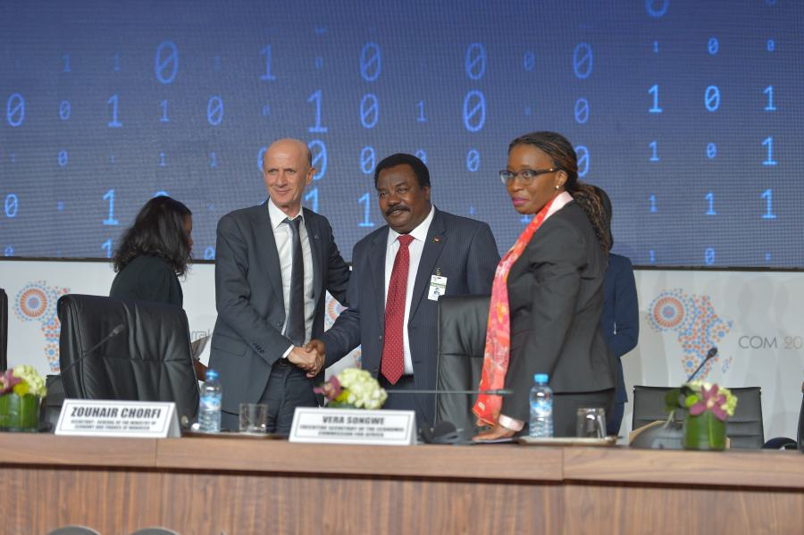 (From left to right) Zouhair Chorfi, Secretary general of the Ministry of Economy and Finance, Morocco, newly elected Chair of the bureau of the committee of experts; HE Elsadig Bakheit Elfaki Abdalla, Chair of the outgoing bureau of the committee of experts; Vera songwe, Executive Secretary of the UN Economic Commission for Africa