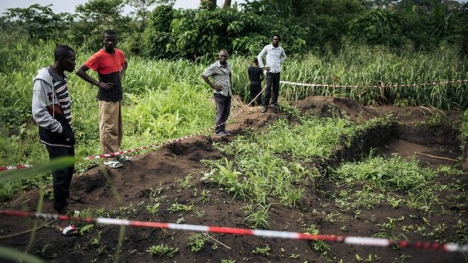 A mass grave in the Bongende is thought to contain 100 bodies. Credit/BBC