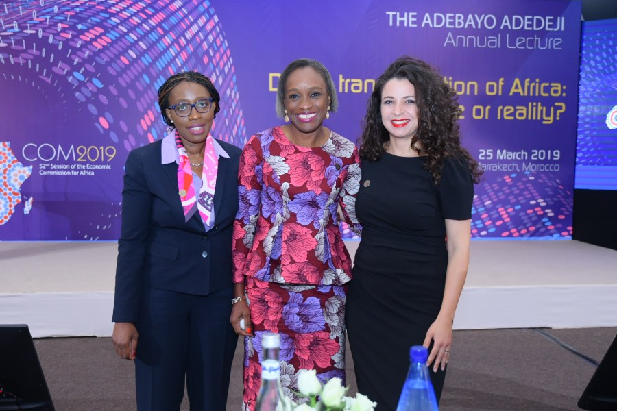Omobola Johnson (Centre) with other guests at the annual Adebayo Adedeji at the ongoing Conference of Ministers in Marrakech, titled: Digitization in Africa: Hype or Reality