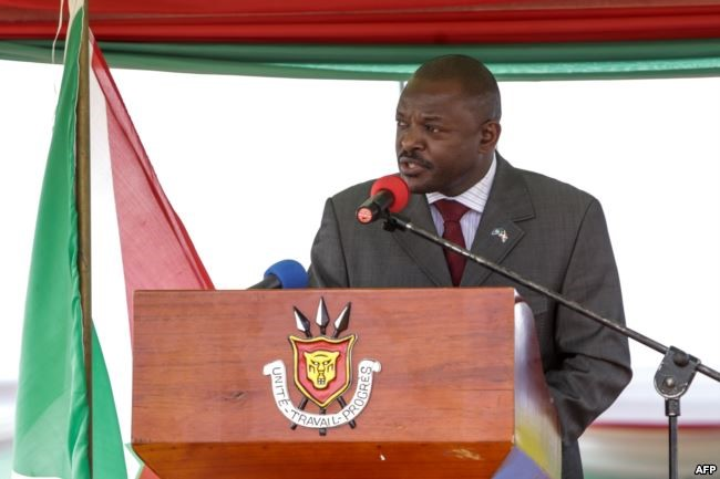 Burundi's President Pierre Nkurunziza speaks after signing for a new constitution adopted by a referendum in Bugendana, Burundi, on June 7, 2018. The change will allow Nkurunziza to run for office twice more in seven-year terms from 2020. Credit/VoA