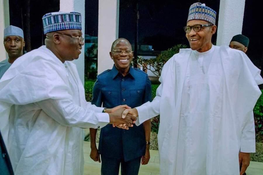 Senate President Ahmed Lawan (L) with Muhammadu Buhari