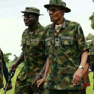 Nigerian President, Buhari and Chief of Army Staff, Yusuf Buratai
