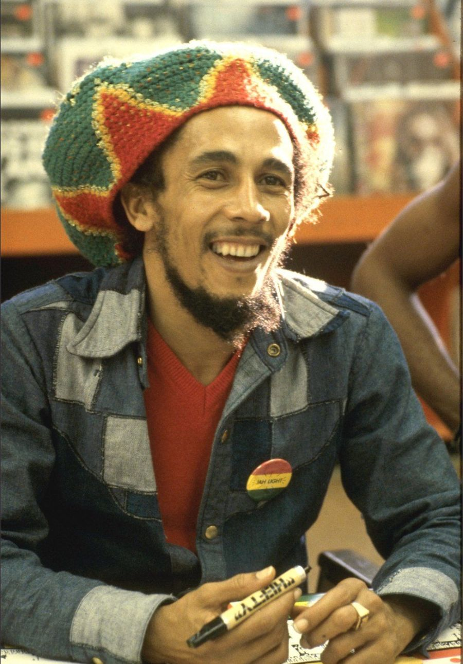 Bob Marley seen in 1979 in Hollywood Tower Records, California, US